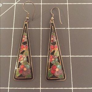 Cloisonné Rainbow Flower Triangle Earrings